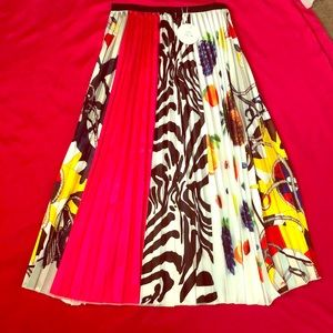 Long multicolor pleated skirt